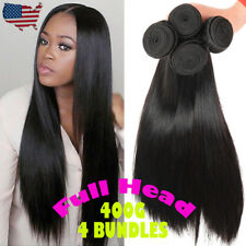 "14""16""18""20"" 4Bundles 400G Thick Brazilian Human Hair Extension Virgin Weft T576"