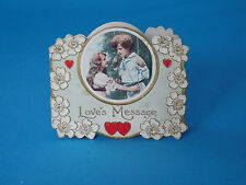 Antique Valentine Card Folding Victorian Petite Girls on a Swing  LOVE'S MESSAGE