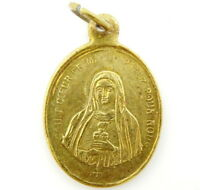 Antique Religious Medal in French Sacred Heart of Jesus and Mary Vintage