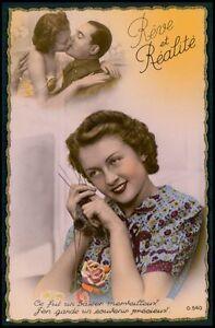 kniting Love romance couple fantasy original 1940s photo postcard lot set of 5