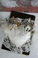 Antique Hat Pin Cushion or Pillow, Satin with Lace Overlay circa 12 pins