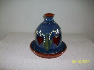 Beautiful Lilies of the Valley Pottery Fairy Lamp / Porch Light Earthen Vessel