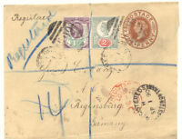 GB 1890 QV 1D wrapper uprated w 1 1/2+2D Jubilee REGISTERED COMMERCIAL PAPERS