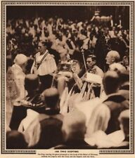 CORONATION 1937. King George VI with his two sceptres. Westminster Abbey 1937
