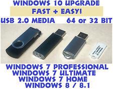 ☕ Windows 10 Upgrade USB Memory Stick w/Windows 7 Backup Install Drive Win 8.1☕