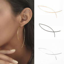 2pcs Cool Punk Geometric Curved Fish Shape Wire Hook Threader Drop Earrings Gift