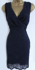 Lipsy Michelle Keegan Lace Bodycon Dress 10 Navy Glitter Sequin Plunge Evening