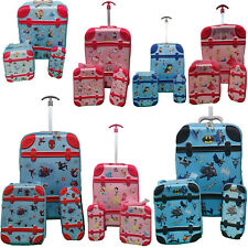 Kids 3 Pcs Cabin Trolley Case Wheels School Lunch Bag Travel Suitcase Characters