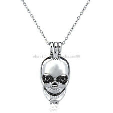 K60 Skull Pearl Cage Diffuser Locket Necklace - Punk Skeleton Pendant Rolo Chain