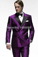 Custom Purple printing Men Wedding Groom Tuxedos Business Formal Best Mans Suits