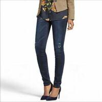 Cabi Womens 4 Dark Wash Blue Skinny Dusk Destructed Distressed Jeans