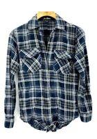 Sam Edelman Womens Large  Plaid Button Down Shirt Split Tail Western Roll Sleeve