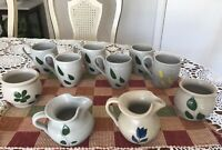 Williamsburg Pottery Salt Glaze 6 Cups Gray with Green leaves+2 Pitchers +2 Pots