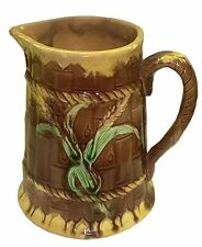 Victorian Majolica Pitcher, Wheat, Rope, and  Bamboo  Late 19thC