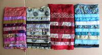 Vintage Patchwork Recycled Silk Sari Scarf Dupatta Wraps Scarves Stoles Lot 4 Pc