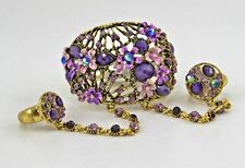 Purple Costume Bangle Bracelet &2 Ring Set RD#11