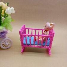 1PC Pink Mini Dolls House Toy Doll Furniture Cradle Bed Doll Accessories Gift