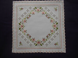 Beautiful Hardanger Doily with Roses