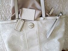 Coach Signature Perforated Leather F21941 white  Handbag Tote Shoulder Bag purse