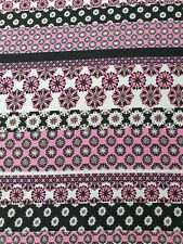 Pink/Black Flower Stripe Print SilkyCrepe Dress/Top Fabric- A54