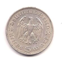 1936-F Germany 3rd Reich Silver Five Reichsmarks--Very Strong Details !!