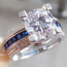 Cz Wedding Engagement Ring Set 7# 925 Sterling Silver Blue Sapphire Round White