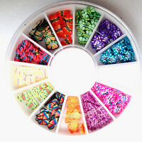 120X 3D Mix Fimo Nail Art Nail Tips Polymer Clay Slices Decor Wheel ColorfulLACA