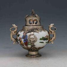 Chinese Antique Porcelain Inlaid Tibetan Silver&Monkey Lid Incense Burner