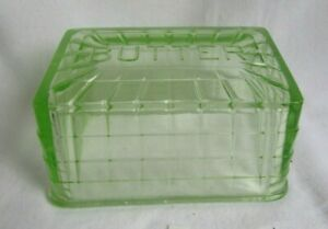 DEPRESSION GLASS GREEN BLOCK OPTIC BUTTER COVER LID ONLY  URANIUM GLOWS