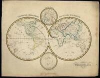 World Polar Double Hemisphere 1840-45 Petri Baedeker scarce Dutch map