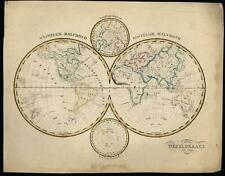 World Polar Double Hemisphere 1840-45 Petri Baedeker scarce Dutch map