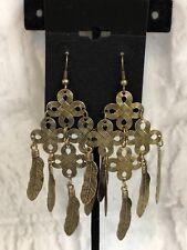Bronze Color Feathers Dangle Chandelier Fashion Pierced Earrings