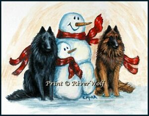 Belgian Shepherd Sheepdog Tervuren Dog Snowman Limited Edition Art Print Xmas
