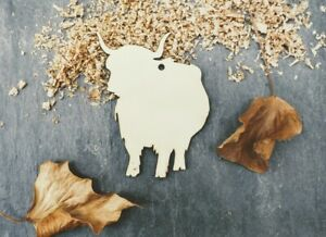 Laser Plywood Highland Cattle Cow Shape x 10, 4mm Plywood Shapes Wood Shapes