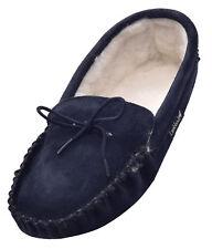 Lambland Mens Ladies Navy Sheepskin Wool Lined Moccasin Slipper Soft Suede Sole