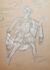 Vintage theatre costume design gouache and pencil drawing signed
