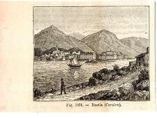Stampa antica originale Veduta di BASTIA Corsica 1889 Ancien Gravure Old Print