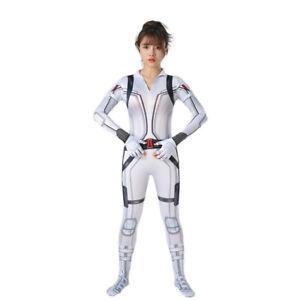 Avengers Black Widow Natasha Jumpsuit Cosplay Costume Adult Kid White Bodysuit