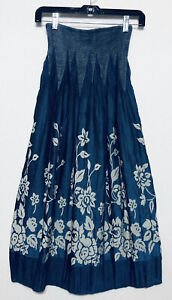 Lapis Womens One Size Blue Floral Strapless Dress Skirt Stretch Boho