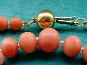 Antique? Victorian Old Salmon Coral Necklace 14ct Gold