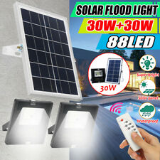 30/60W LED Solar Wall Light Spotlight Outdoor Garden Safety Lamp Remote Control