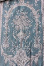 Shabby Faded French Antique Blue Floral Rose Home Dec Toile Fabric Textile c1870
