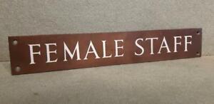 "Vintage 1930's  ""Female Staff"" Copper & Enamel Door Sign"