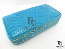 PELGIO Real Genuine Crocodile Skin Leather Zip Around Wristlet Wallet Purse Blue
