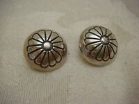 CONCHO FLOWER EARRING CLIP ON PUFFY FLOWER STERLING SILVER 925 VINTAGE TESTED