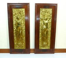 Two Large Art Nouveau Reliefs Um 1900 Gold Plated