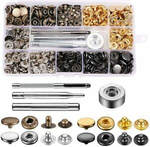 Leather Snap Button Fasteners Kit 128 Sets Metal Snap Kit with Repair Tool