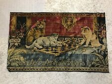 """RARE VINTAGE WALL HANGING TEXTILE TAPESTRY CATS ON CHESS BOARD ART 35""""X21 1/2"""""""