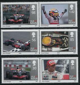 2009 ISLE OF MAN LEWIS HAMILTON F1 WORLD CHAMPION SET OF 6 FINE MINT MNH/MUH