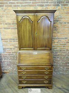 STATTON Tru Type Oxford Antique Finish Cherry Blind Door Secretary 2 Piece Desk